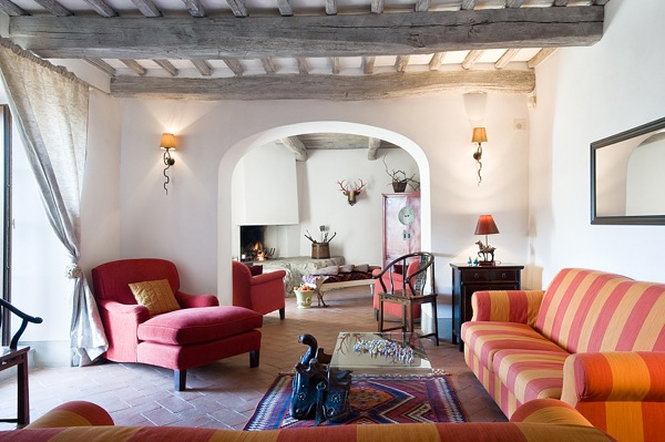 living room of italian agriturismo montestigliano