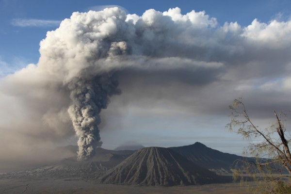 Ash cloud above Mount Bromo, Jan 2011. Image: Photovolcania