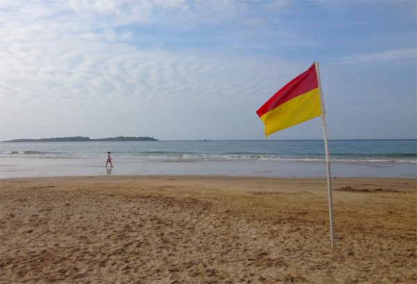 Safe swimming flag at White Rocks Beach, County Antrim.
