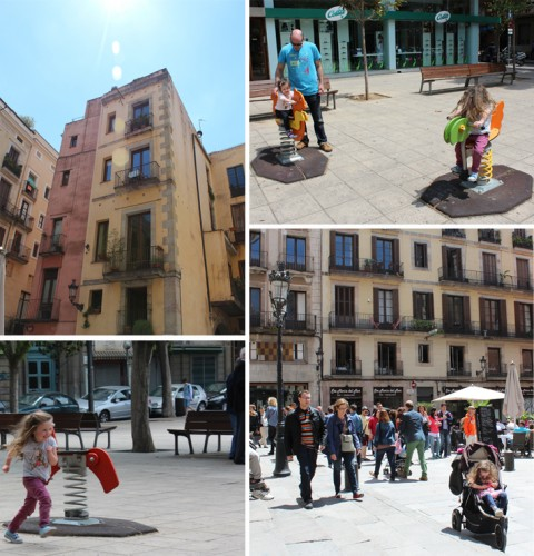 Playing in the park in Badalona town centre, and revisiting an old apartment rental in El Born, Barcelona.  We tried four different types of accommodation in four different areas before deciding where to live.