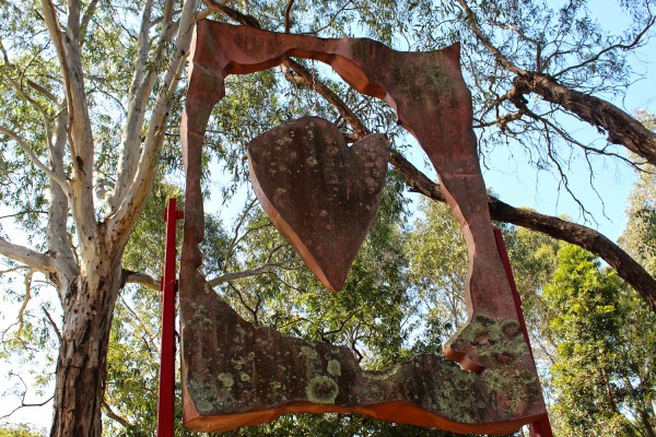 hanging heart sculpture heide museum modern art
