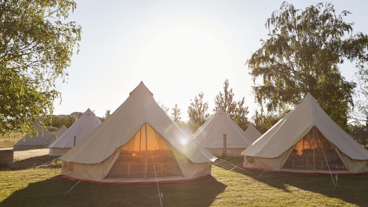 Private glamping tents are available to book. This looks nothing like our tent!